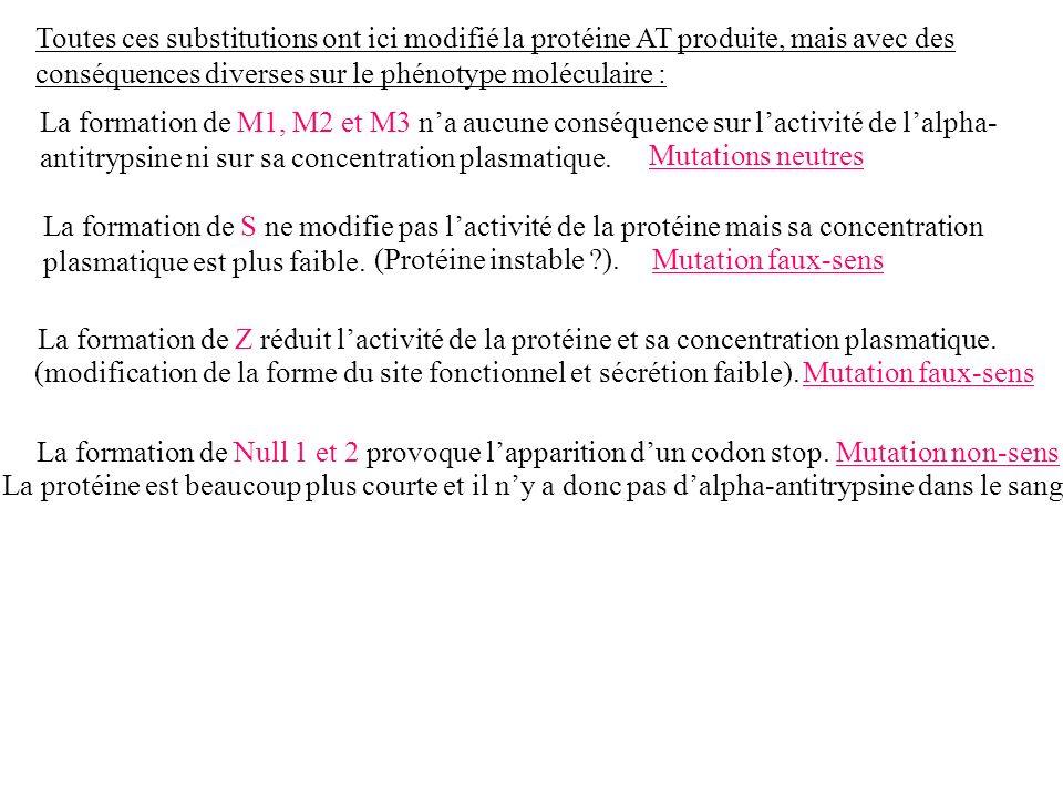 Toutes ces substitutions ont ici modifié la protéine AT produite, mais avec des conséquences diverses sur le phénotype moléculaire : La formation de M