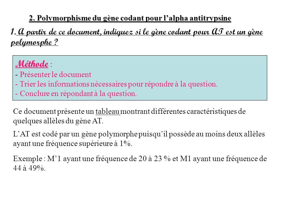 2. Polymorphisme du gène codant pour lalpha antitrypsine 1. A partir de ce document, indiquez si le gène codant pour AT est un gène polymorphe ? LAT e