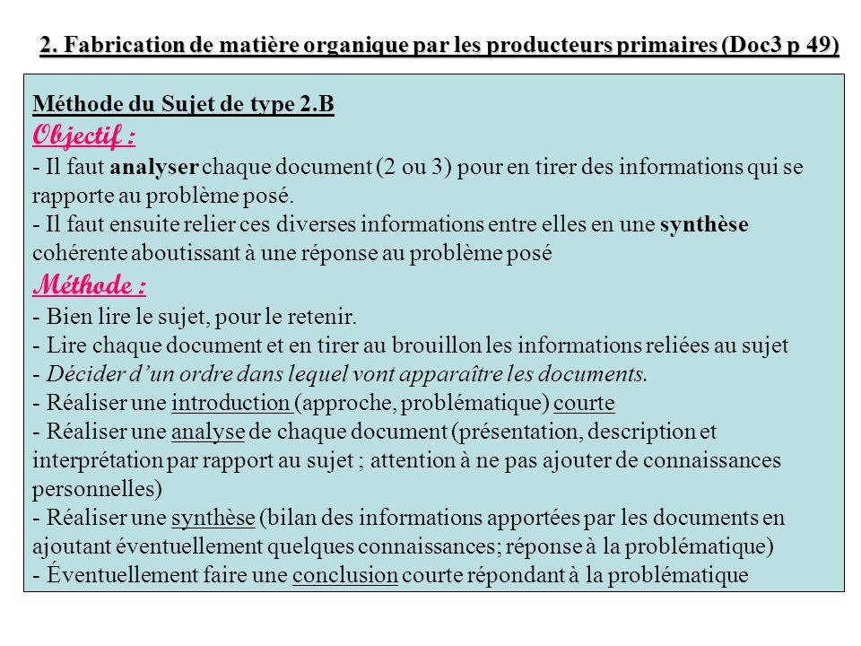2. Fabrication de matière organique par les producteurs primaires (Doc3 p 49) Méthode du Sujet de type 2.B Objectif : - Il faut analyser chaque docume