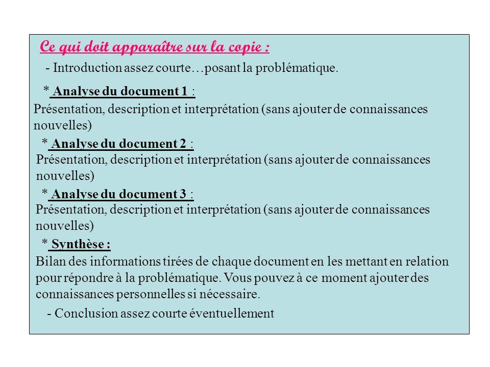 Ce qui doit apparaître sur la copie : * Analyse du document 1 : Présentation, description et interprétation (sans ajouter de connaissances nouvelles)