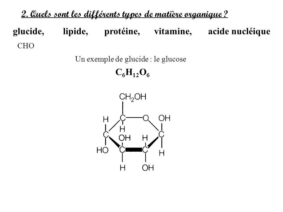 2. Quels sont les différents types de matière organique ? glucide, lipide, protéine, vitamine, acide nucléique Un exemple de glucide : le glucose C 6