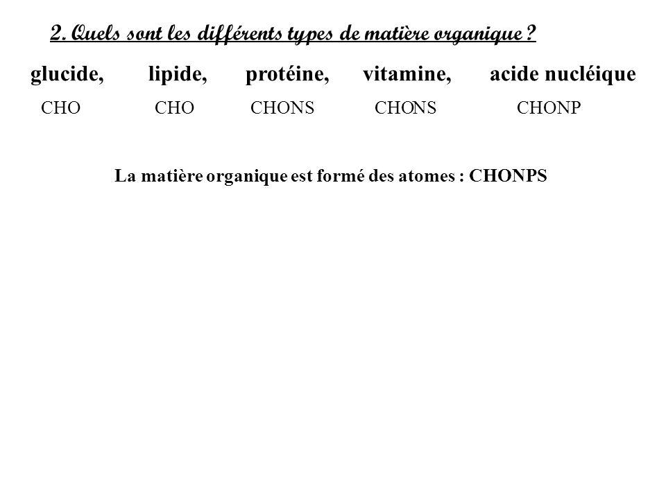 2. Quels sont les différents types de matière organique ? glucide, lipide, protéine, vitamine, acide nucléique CHO CHONSCHONSCHONP La matière organiqu