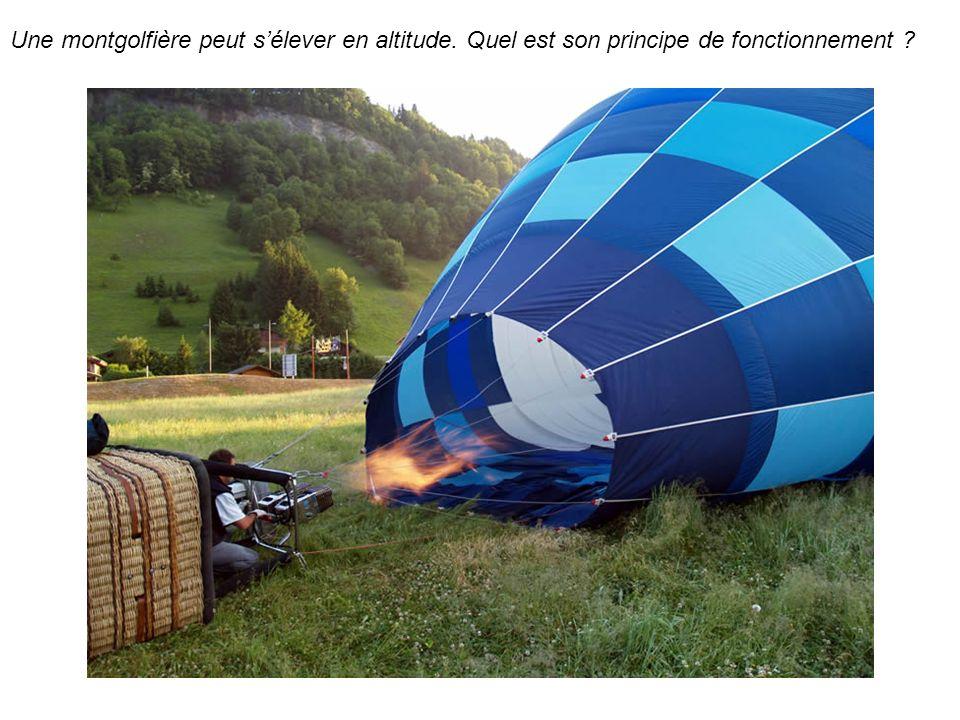 Une montgolfière peut sélever en altitude. Quel est son principe de fonctionnement ?