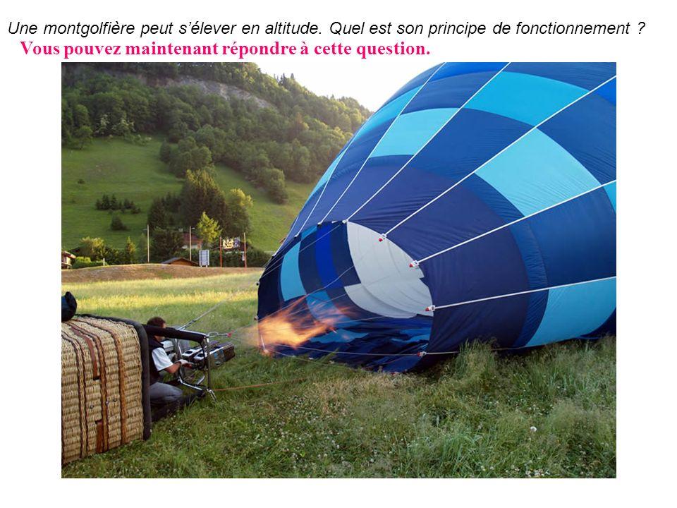 Une montgolfière peut sélever en altitude. Quel est son principe de fonctionnement ? Vous pouvez maintenant répondre à cette question.