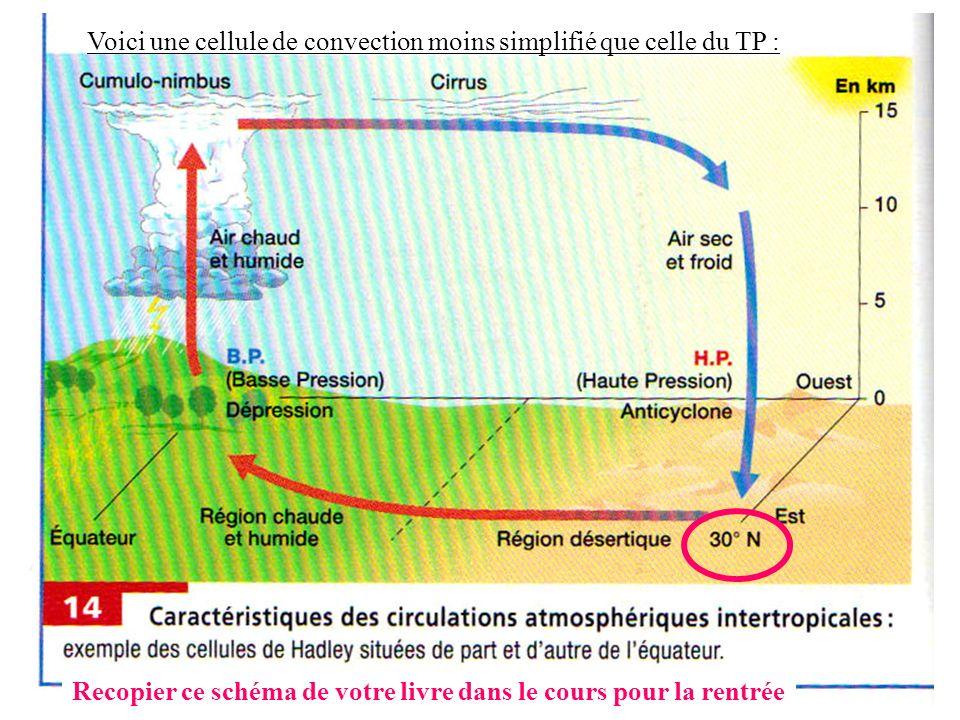 Voici une cellule de convection moins simplifié que celle du TP : Recopier ce schéma de votre livre dans le cours pour la rentrée
