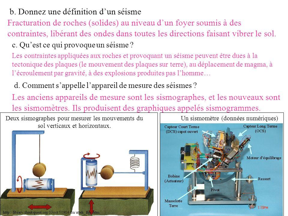 b. Donnez une définition dun séisme Fracturation de roches (solides) au niveau dun foyer soumis à des contraintes, libérant des ondes dans toutes les