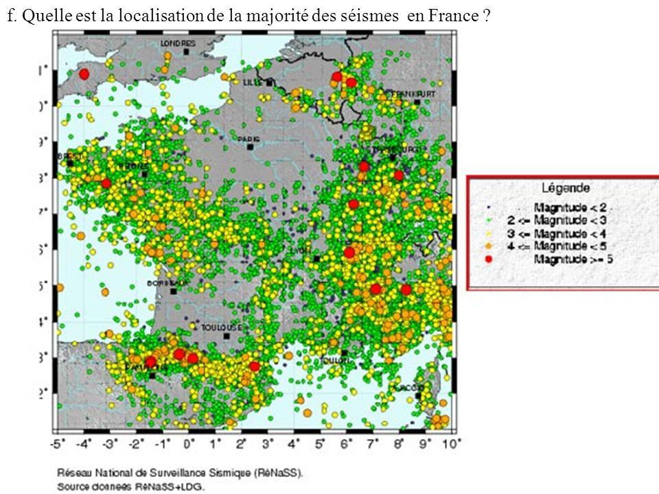 f. Quelle est la localisation de la majorité des séismes en France ?