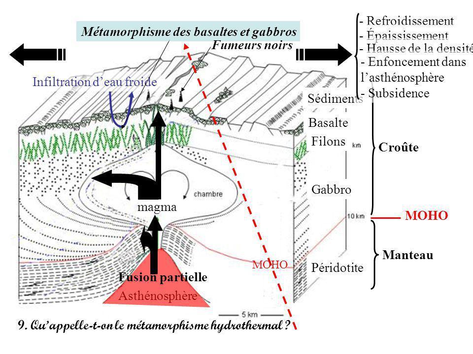 Croûte Manteau MOHO Asthénosphère Sédiments Basalte Filons Gabbro Péridotite Fusion partielle magma Infiltration deau froide Métamorphisme des basalte