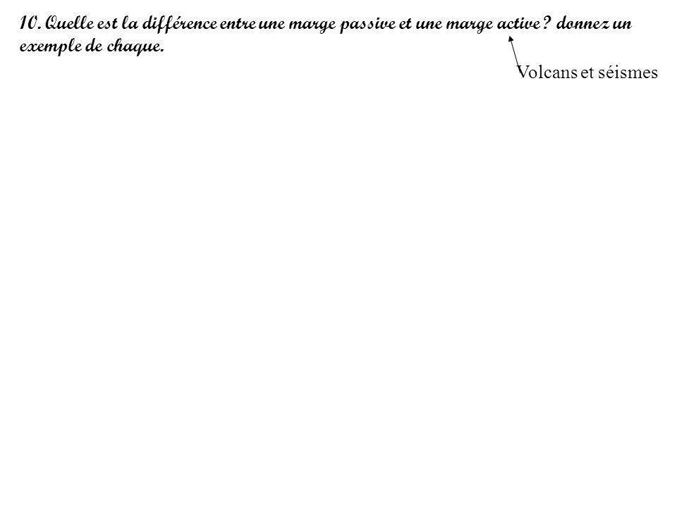10. Quelle est la différence entre une marge passive et une marge active ? donnez un exemple de chaque. Volcans et séismes