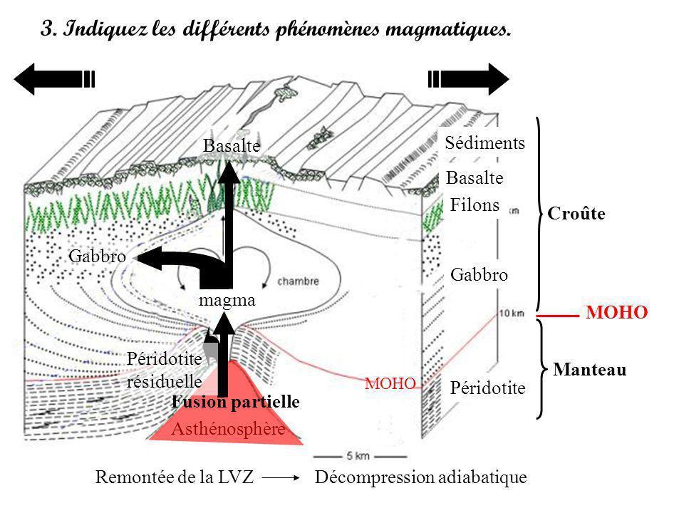 3. Indiquez les différents phénomènes magmatiques. Croûte Manteau MOHO Asthénosphère Sédiments Basalte Filons Gabbro Péridotite Fusion partielle magma