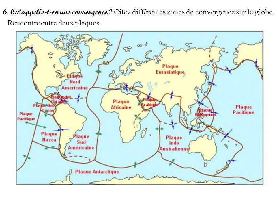 6. Quappelle-t-on une convergence ? Citez différentes zones de convergence sur le globe. Rencontre entre deux plaques.