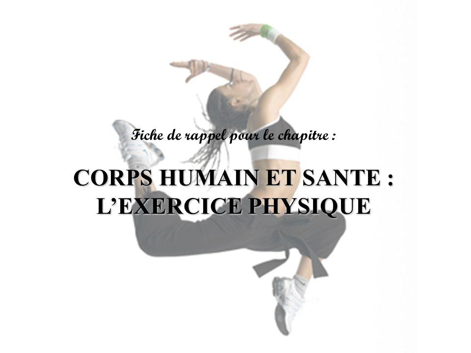 Fiche de rappel pour le chapitre : CORPS HUMAIN ET SANTE : LEXERCICE PHYSIQUE