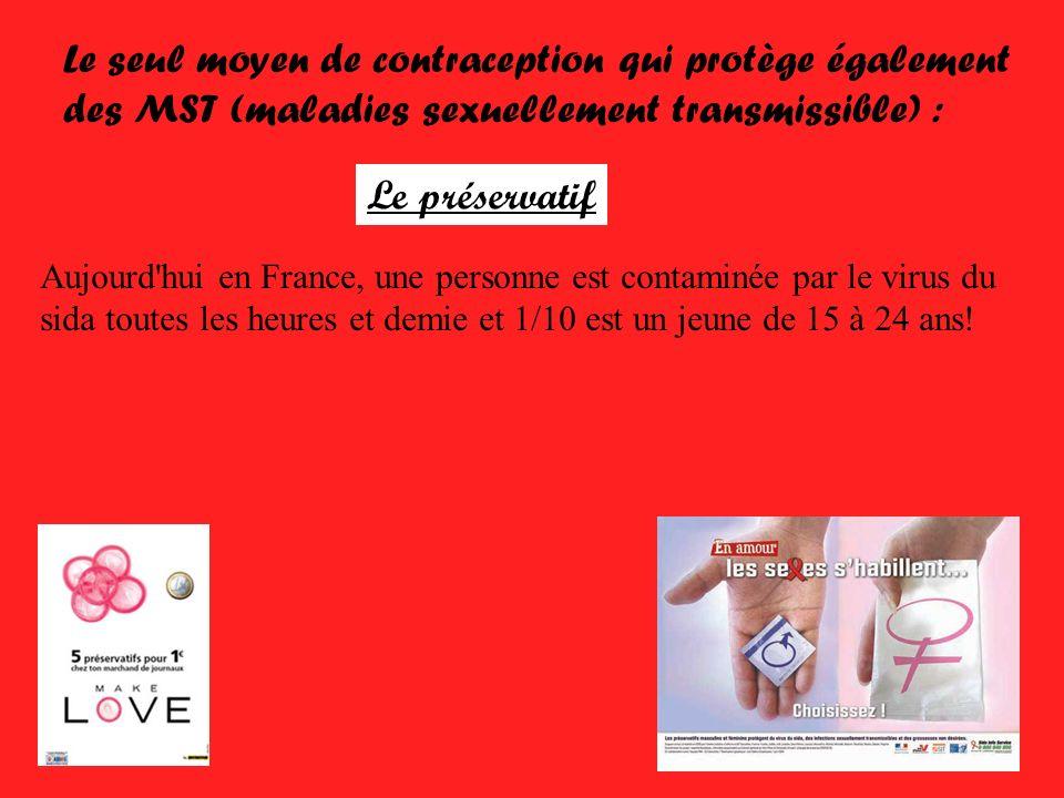 Le seul moyen de contraception qui protège également des MST (maladies sexuellement transmissible) : Le préservatif Aujourd'hui en France, une personn