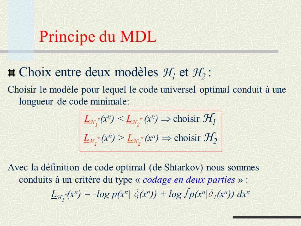 Complexité paramétrique Complexité paramétrique dun modèle C n ( H ) = log p(x n | (x n )) dx n Avec cette définition L H 1 * (x n ) = -log p(x n | (x n )) + C n ( H 1 ) C n ( H 1 ) : codage du modèle (structure) -log p(x n | (x n )) : codage des détails (bruit)