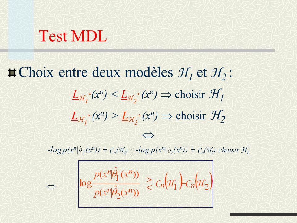 Complexité paramétrique ( H : ensemble fini) Si H = {p(x n | i ), i=1,2,…,M} C n ( H ) = log x n p(x n | (x n )) = log j x n : (x n ) = j p(x n | j ) = log j (1- x n : (x n ) j p(x n | j ) ) = log ( M – Pr{ (x n ) j } ) log M Ces expressions montrent que la complexité paramétrique dun modèle mesure le nombre de distributions que le modèle contient qui sont distinguables avec un certain volume de données Dans lexpression précédente, le terme derreur tend (pour des modèles non pathologiques, pour lesquels un estimateur consistant existe) vers zéro quand le nombre de données tend vers infini, et C n ( H ) log M