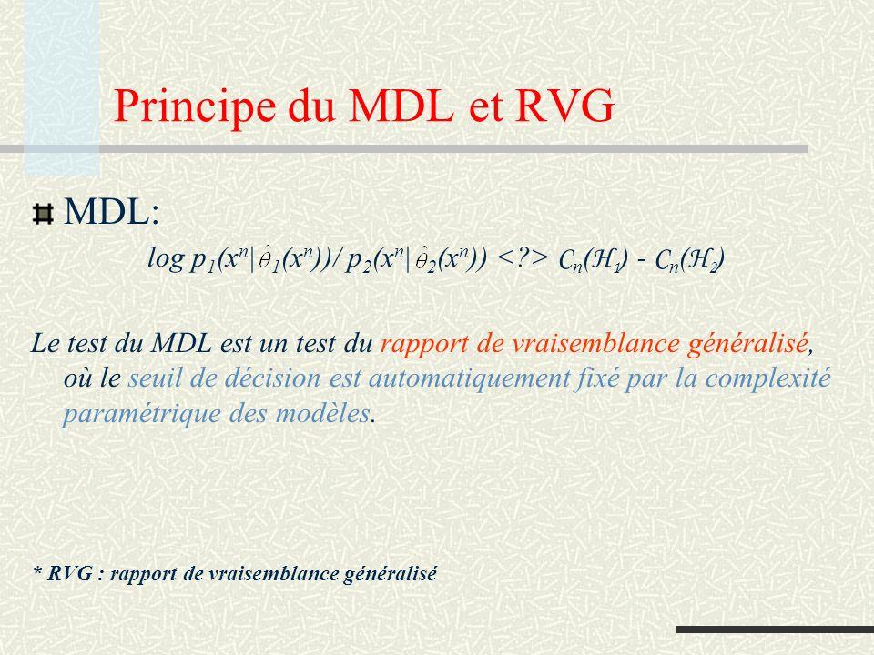 Consistance Le fait que le code optimal soit un code universel garanti que quand n le vrai modèle (si les données sont une réalisation dune source avec une distribution de probabilité qui fait partie dun des modèles) est choisi, avec probabilité 1.