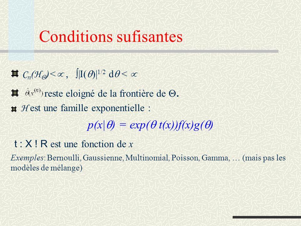 Interprétation Avec cette approximation L H * (x n ) = -log p(x n | (x n )) + C n ( H ) = -log p(x n | (x n )) (fit to data (noise): linear in n) (# models: log in n) (model geometry: C te in n) ( 0 when n ) Good approximation if n large, k n