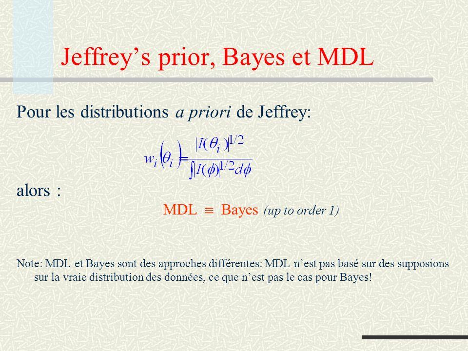 MDL et codage prédictif La factorisation implique longueur de codepénalité de prédiction accumulée : coût de la prédiction de x i basée sur lobservation de x 1 …x i-1