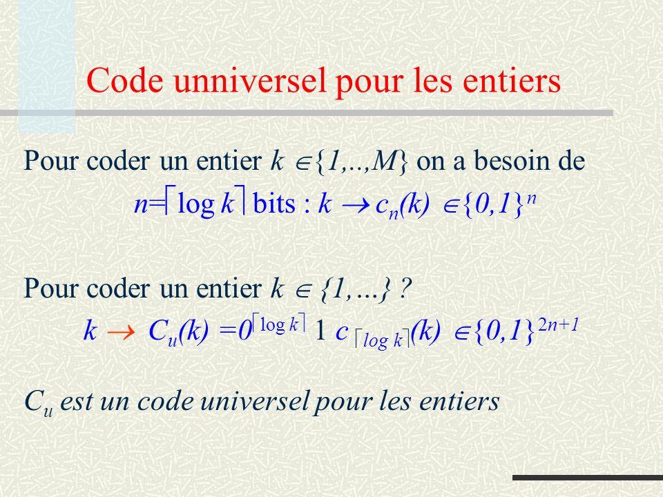 Code unniversel pour les entiers Pour coder un entier k {1,..,M} on a besoin de n= log k bits : k c n (k) {0,1} n Pour coder un entier k {1,…} ? k C u