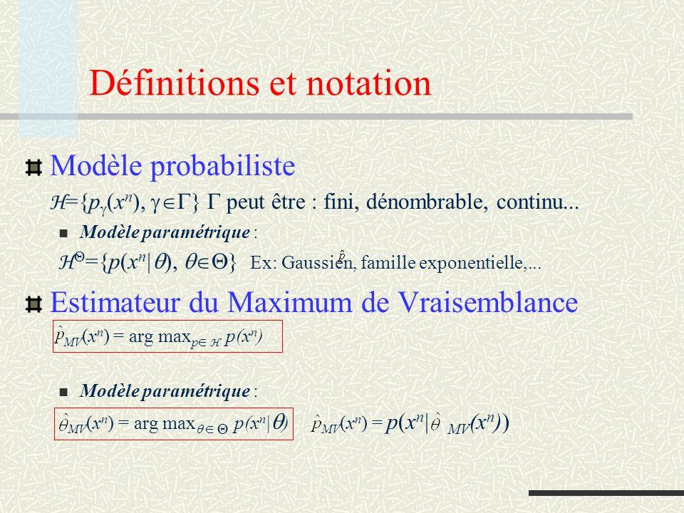 Propriétés asymptotiques Estimateur consistant x n X, x n p lim n MV (x n ) = p w.p.1 x n X, x n p(x n | ) lim n MV (x n ) = w.p.1 Code universel (par rapport à un modèle) H : modèle probabiliste L ensemble de (longueurs de) codes (de préfixe) L H est un code universel pour H ssi x n X lim n 1/n L H ( x n ) = lim n 1/n min L L L( x n ) Note: si x n p H lim n 1/n min L L L( x n ) = H(p ) : taux dentropie