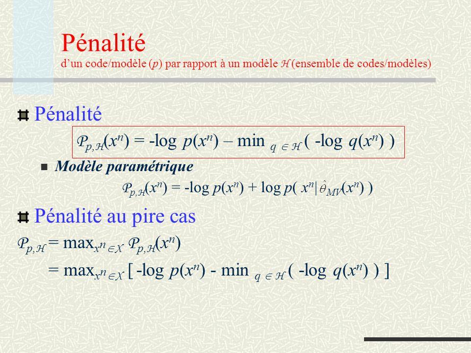 Code universel optimal (par rapport à un modèle) Code universel optimal L H * est un code universel optimal (pour le modèle H ) ssi P L H*, H P L, H Solution: Code (modèle) de Shtarkov: p nmv (x n ) = p H * (x n ) p(x n | MV (x n ) ), p H * (x n ) d x n =1 Pour ce code, x n X P p nmv, H (x n ) = P p nmv, H = -log p(x n | MV (x n )) d x n