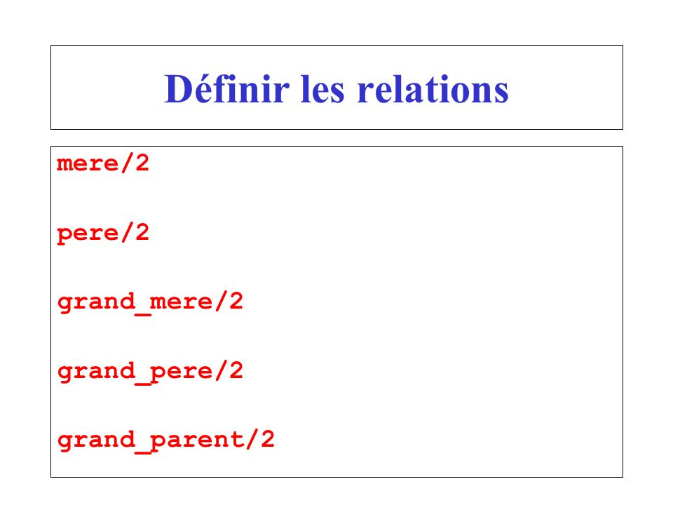 Définir les relations mere/2 pere/2 grand_mere/2 grand_pere/2 grand_parent/2