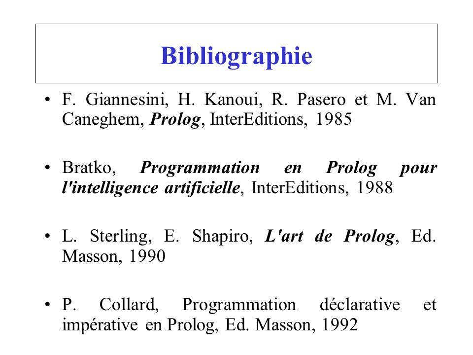 Bibliographie F. Giannesini, H. Kanoui, R. Pasero et M. Van Caneghem, Prolog, InterEditions, 1985 Bratko, Programmation en Prolog pour l'intelligence