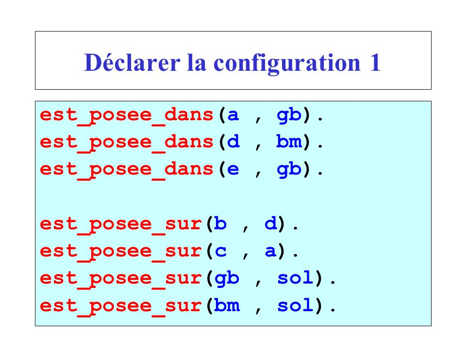 Déclarer la configuration 1 est_posee_dans(a, gb). est_posee_dans(d, bm). est_posee_dans(e, gb). est_posee_sur(b, d). est_posee_sur(c, a). est_posee_s
