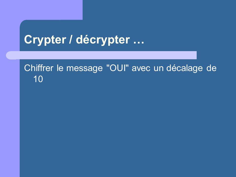 Crypter / décrypter … Chiffrer le message