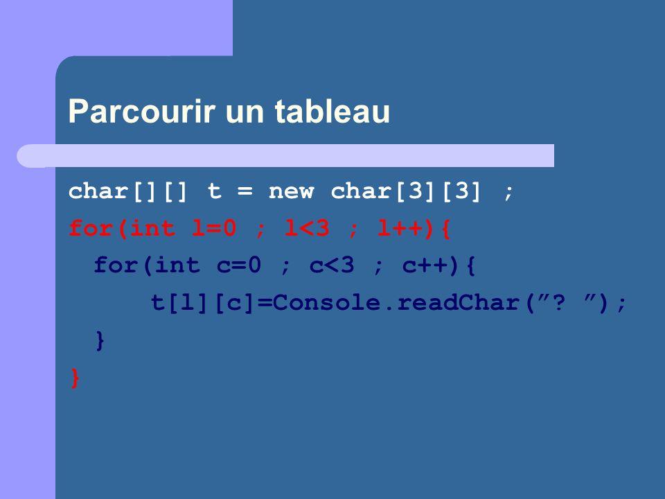 Parcourir un tableau char[][] t = new char[3][3] ; for(int l=0 ; l<3 ; l++){ for(int c=0 ; c<3 ; c++){ t[l][c]=Console.readChar(? ); }