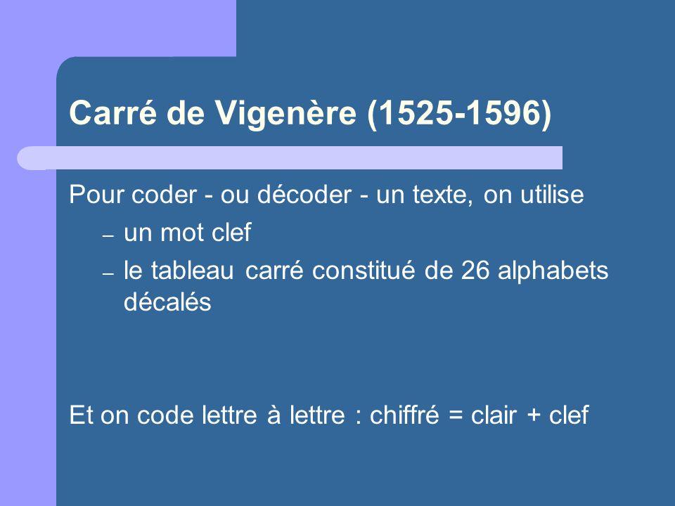 Carré de Vigenère (1525-1596) Pour coder - ou décoder - un texte, on utilise – un mot clef – le tableau carré constitué de 26 alphabets décalés Et on