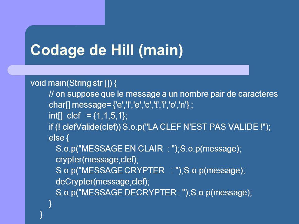 Codage de Hill (main) void main(String str []) { // on suppose que le message a un nombre pair de caracteres char[] message= {'e','l','e','c','t','i',