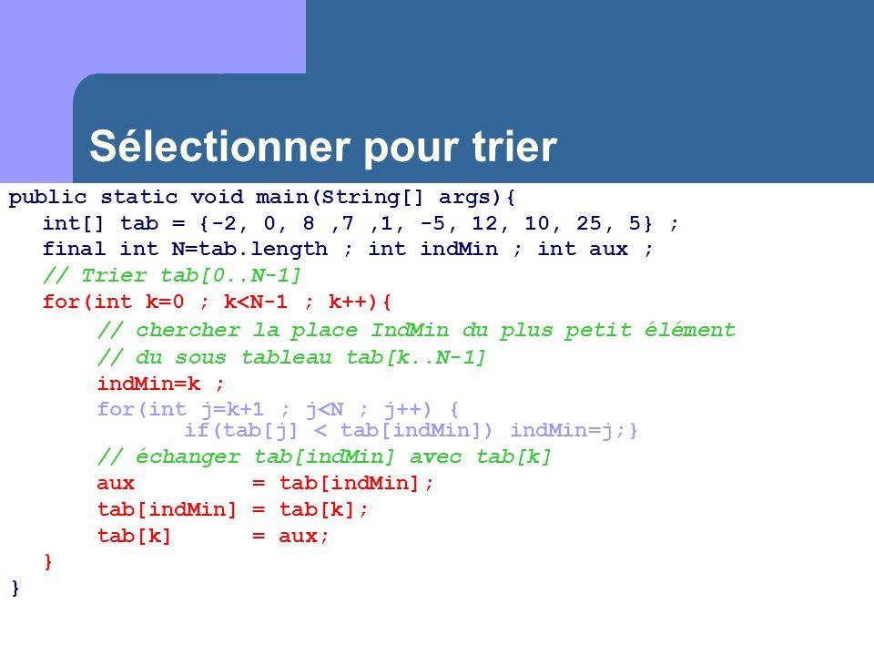 Sélectionner pour trier public static void main(String[] args){ int[] tab = {-2, 0, 8,7,1, -5, 12, 10, 25, 5} ; final int N=tab.length ; int indMin ;