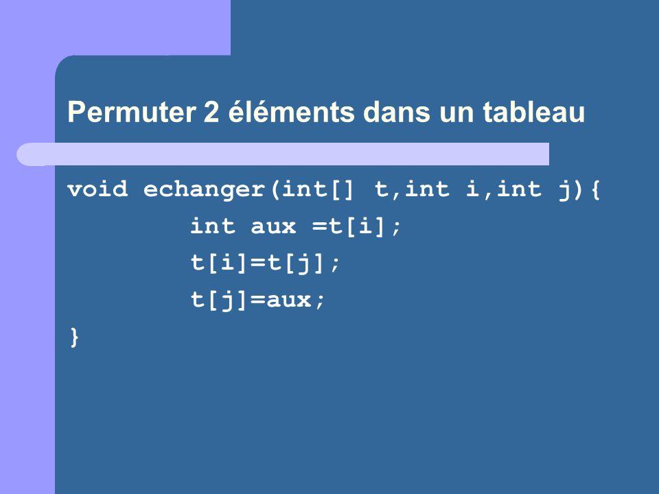 Permuter 2 éléments dans un tableau void echanger(int[] t,int i,int j){ int aux =t[i]; t[i]=t[j]; t[j]=aux; }