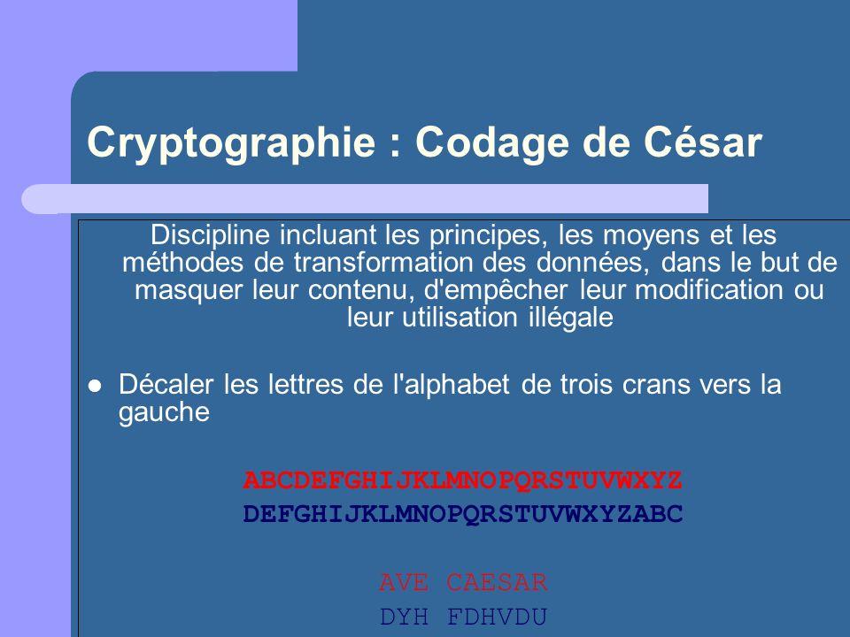 Cryptographie : Codage de César Discipline incluant les principes, les moyens et les méthodes de transformation des données, dans le but de masquer le