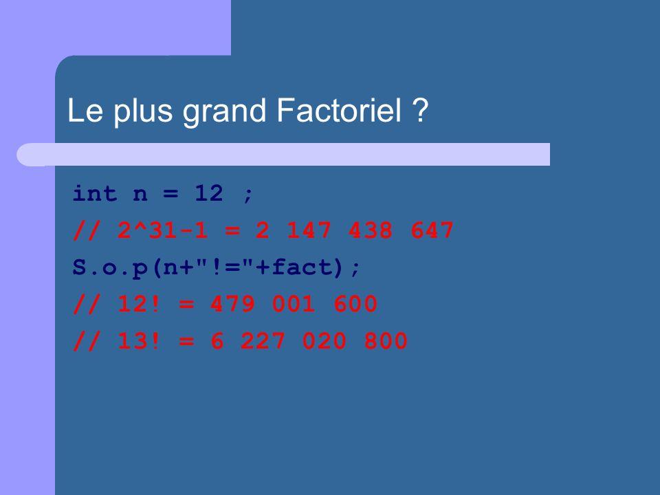 int n = 12 ; // 2^31-1 = 2 147 438 647 S.o.p(n+ != +fact); // 12.