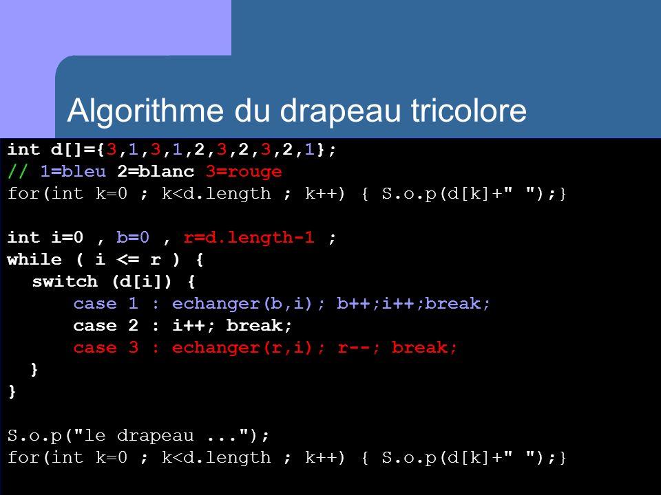 int d[]={3,1,3,1,2,3,2,3,2,1}; // 1=bleu 2=blanc 3=rouge for(int k=0 ; k<d.length ; k++) { S.o.p(d[k]+ );} int i=0, b=0, r=d.length-1 ; while ( i <= r ) { switch (d[i]) { case 1 : echanger(b,i); b++;i++;break; case 2 : i++; break; case 3 : echanger(r,i); r--; break; } } S.o.p( le drapeau... ); for(int k=0 ; k<d.length ; k++) { S.o.p(d[k]+ );} Algorithme du drapeau tricolore