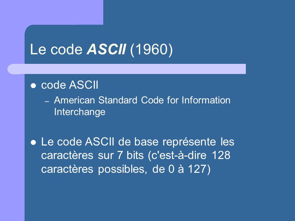 Le code ASCII (1960) code ASCII – American Standard Code for Information Interchange Le code ASCII de base représente les caractères sur 7 bits (c'est