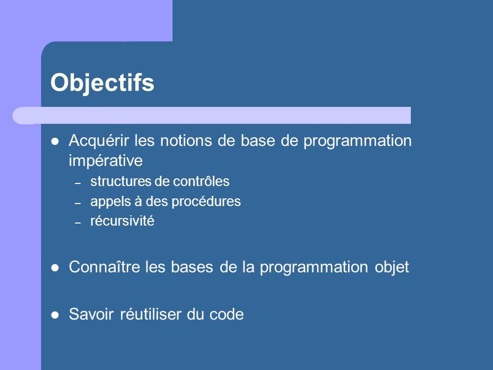 Objectifs Acquérir les notions de base de programmation impérative – structures de contrôles – appels à des procédures – récursivité Connaître les bas