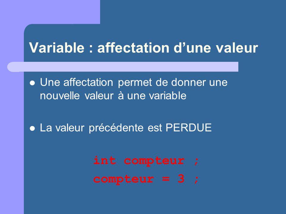 Variable : affectation dune valeur Une affectation permet de donner une nouvelle valeur à une variable La valeur précédente est PERDUE int compteur ; compteur = 3 ;