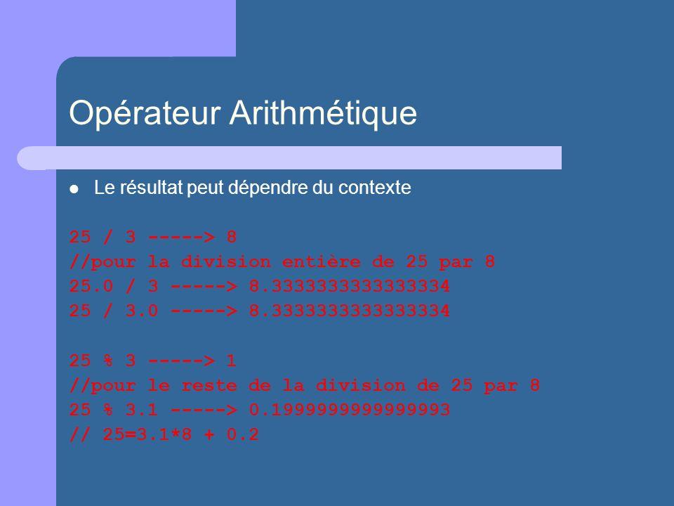 Opérateur Arithmétique Le résultat peut dépendre du contexte 25 / 3 -----> 8 //pour la division entière de 25 par 8 25.0 / 3 -----> 8.3333333333333334 25 / 3.0 -----> 8.3333333333333334 25 % 3 -----> 1 //pour le reste de la division de 25 par 8 25 % 3.1 -----> 0.1999999999999993 // 25=3.1*8 + 0.2