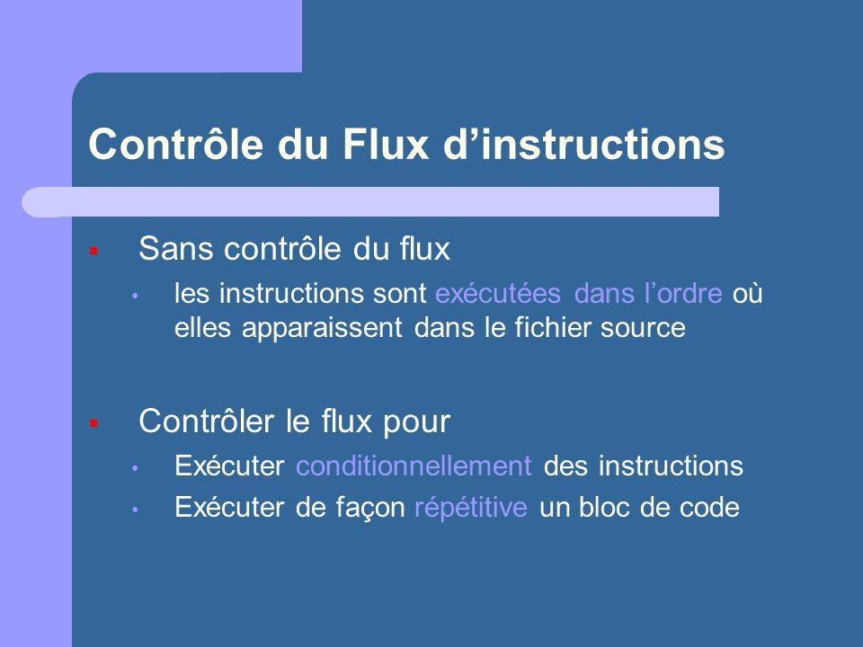 Contrôle du Flux dinstructions Sans contrôle du flux les instructions sont exécutées dans lordre où elles apparaissent dans le fichier source Contrôler le flux pour Exécuter conditionnellement des instructions Exécuter de façon répétitive un bloc de code