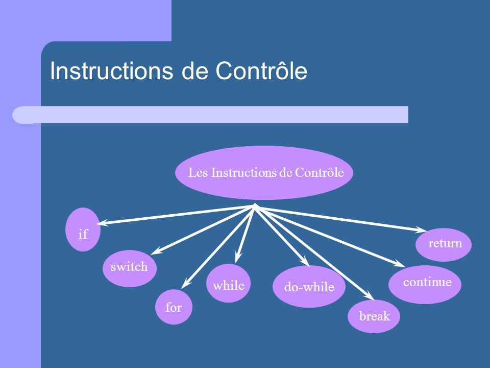 Les Instructions de Contrôle if switch for while do-while break continue return Instructions de Contrôle