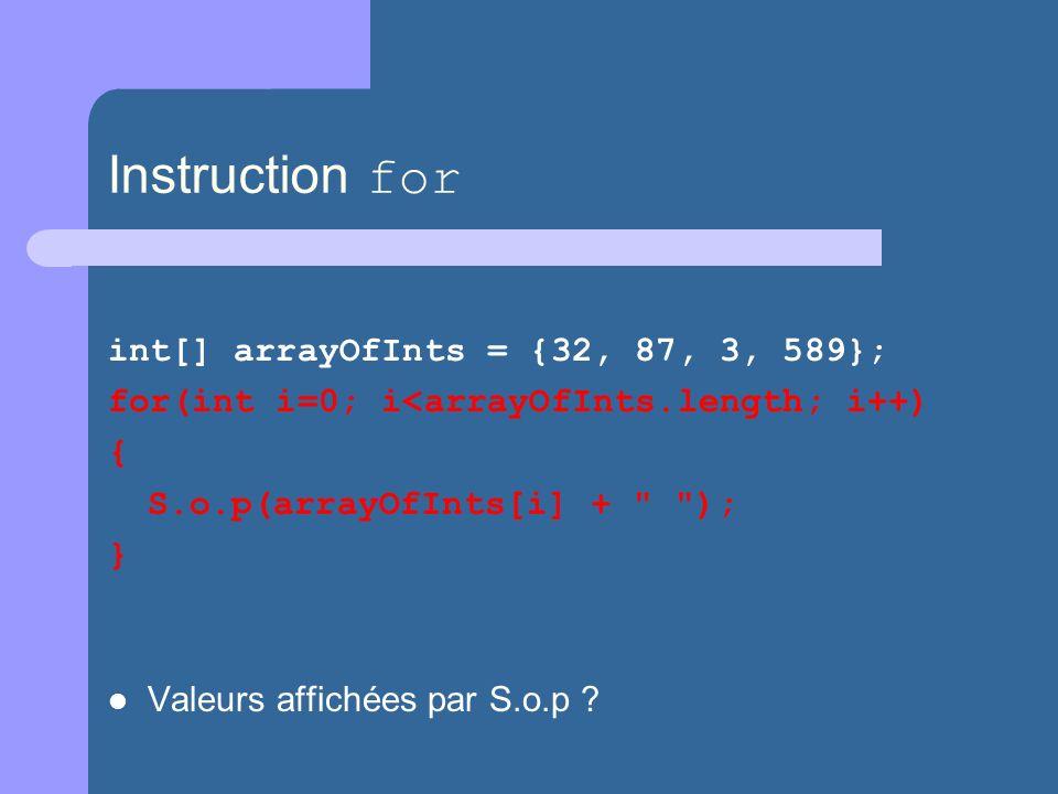 Instruction for int[] arrayOfInts = {32, 87, 3, 589}; for(int i=0; i<arrayOfInts.length; i++) { S.o.p(arrayOfInts[i] + ); } Valeurs affichées par S.o.p ?