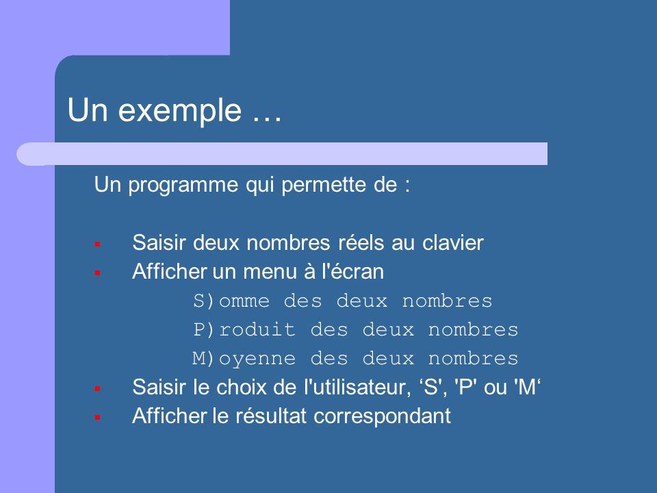Un exemple … Un programme qui permette de : Saisir deux nombres réels au clavier Afficher un menu à l écran S)omme des deux nombres P)roduit des deux nombres M)oyenne des deux nombres Saisir le choix de l utilisateur, S , P ou M Afficher le résultat correspondant