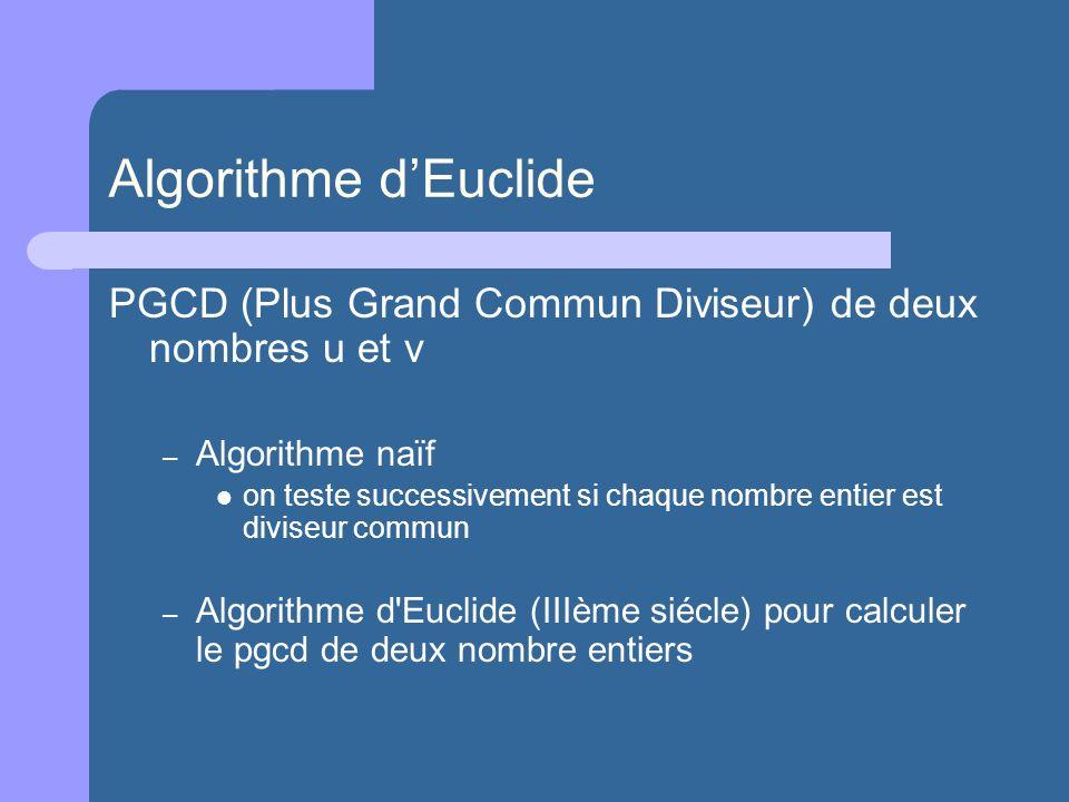 Algorithme dEuclide PGCD (Plus Grand Commun Diviseur) de deux nombres u et v – Algorithme naïf on teste successivement si chaque nombre entier est div