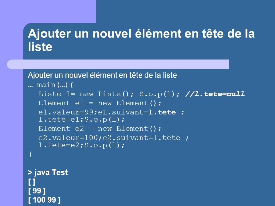 Ajouter un nouvel élément en tête de la liste … main(…){ Liste l= new Liste(); S.o.p(l); //l.tete=null Element e1 = new Element(); e1.valeur=99;e1.suivant=l.tete ; l.tete=e1;S.o.p(l); Element e2 = new Element(); e2.valeur=100;e2.suivant=l.tete ; l.tete=e2;S.o.p(l); } > java Test [ ] [ 99 ] [ 100 99 ]
