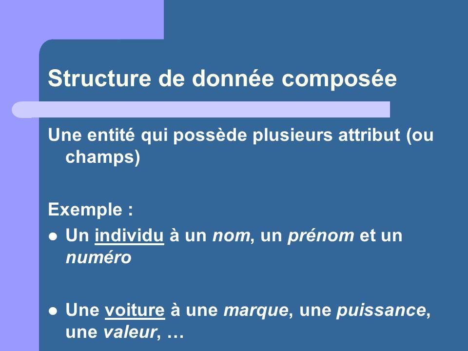 Structure de donnée composée Une entité qui possède plusieurs attribut (ou champs) Exemple : Un individu à un nom, un prénom et un numéro Une voiture à une marque, une puissance, une valeur, …