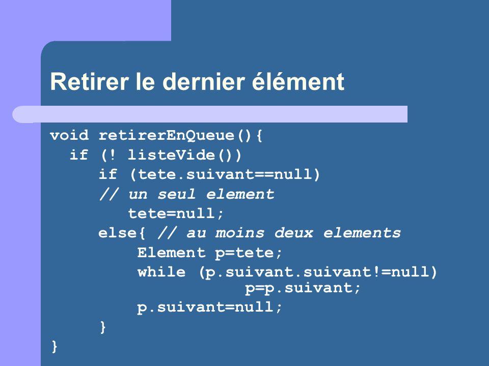 Retirer le dernier élément void retirerEnQueue(){ if (.