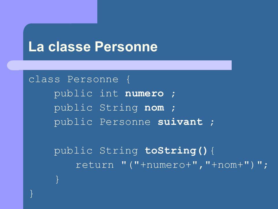La classe Personne class Personne { public int numero ; public String nom ; public Personne suivant ; public String toString(){ return ( +numero+ , +nom+ ) ; } }